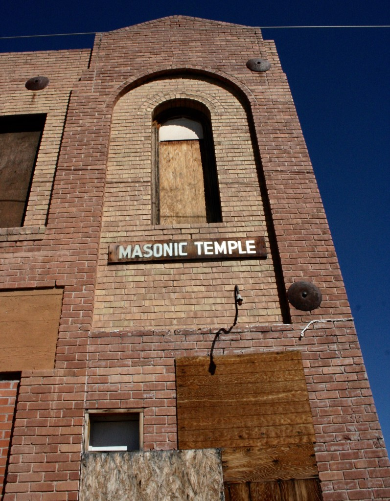 Masonic Temple sign on abandoned Freemason Temple