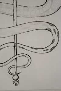 Rod of Asclepius t shirt design work in progress