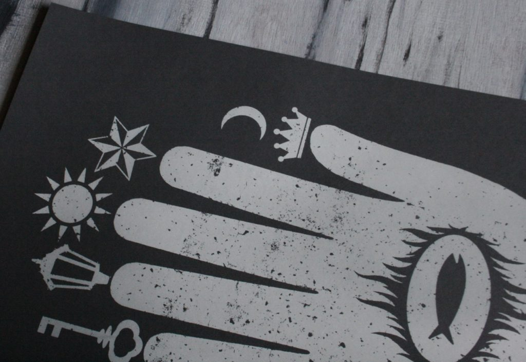 "screen print poster from Closet of Mysteries ""Hand of Mysteries"" design"