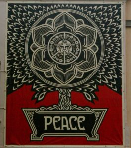 Shepard Fairey banner on Riverside City Hall
