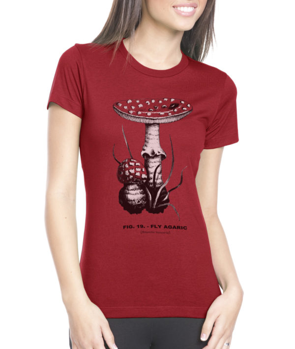 fly agaric (amanita mascara) botanical illustration screen printed women's t shirt from Closet of Mysteries