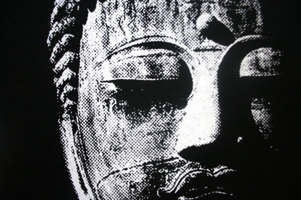 Great Buddha screen printed t shirt detail from Closet of Mysteries