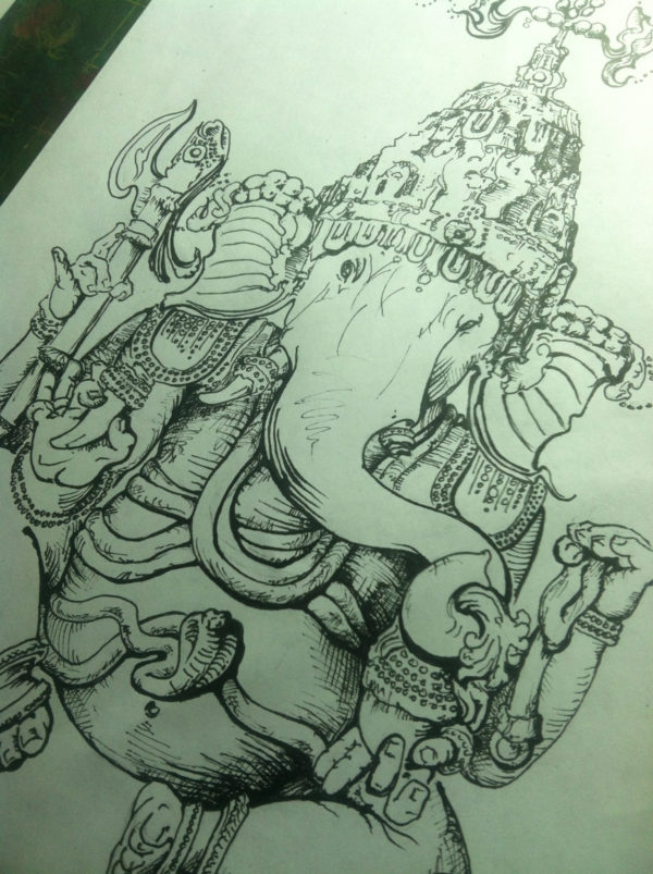ganesha drawing original by Scott Myst