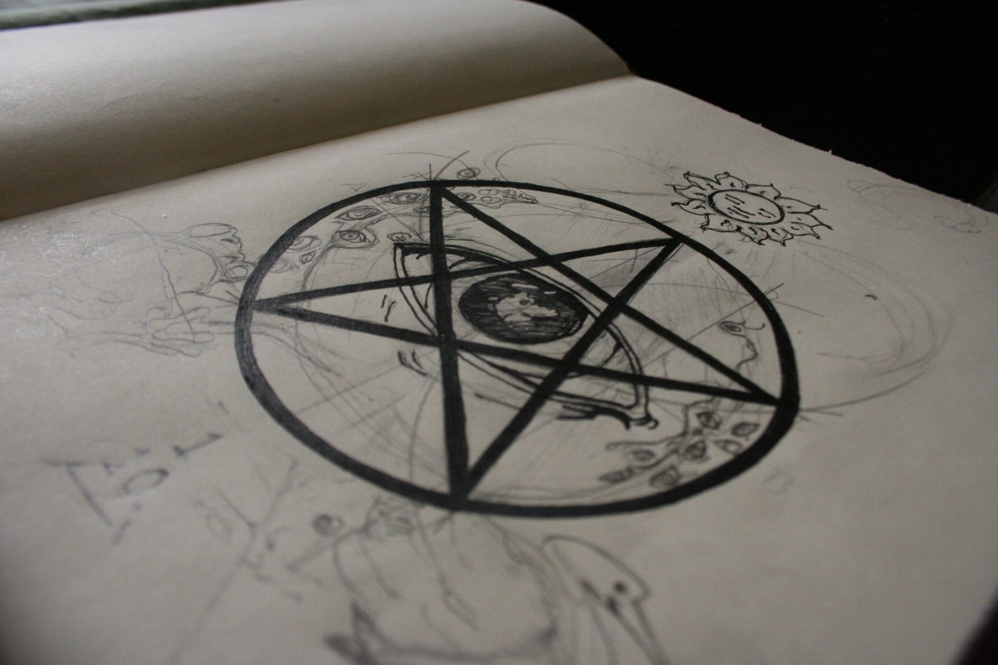 Sketchbook magick drawing eye of providence in pentagram drawing by Scott Myst of Closet of Mysteries