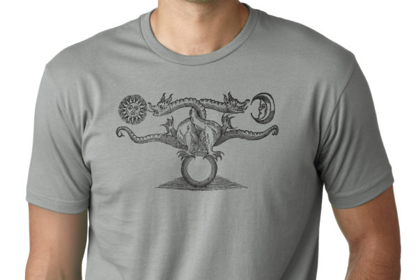 Alchemical dragon shirt vintage illustration screen print by Closet of Mysteries grey