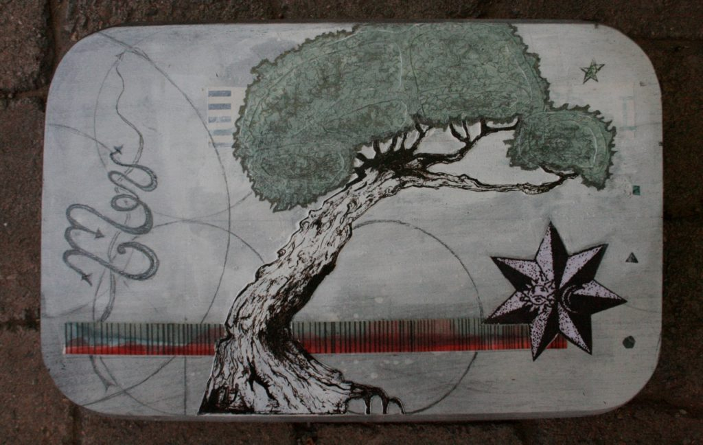 "Original wall art - ""The Work (base)"" - mixed media collage art - Money tree"