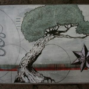 "Original tree art - ""The Work (base)"" - mixed media collage art - drawing trees"