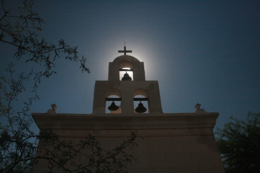 bells over shrine at San Xavier del Bac Mission