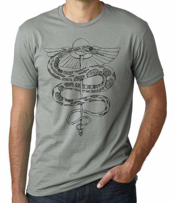 rod of asclepius shirt grey variation by Closet of Mysteries