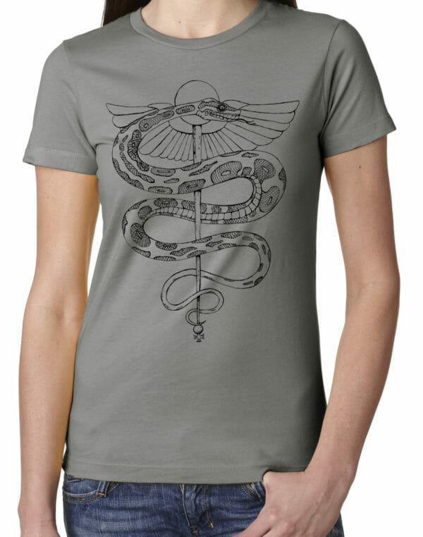 women's rod of asclepius shirt by closet of mysteries