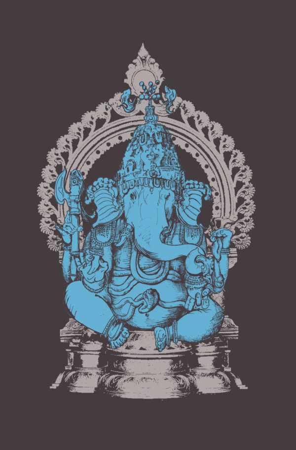 ganesha poster screen printed wall art by closet of mysteries