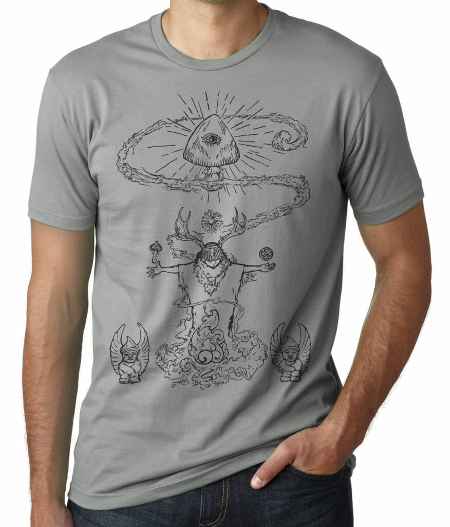 Mushroom shaman t shirt original design by Closet of Mysteries