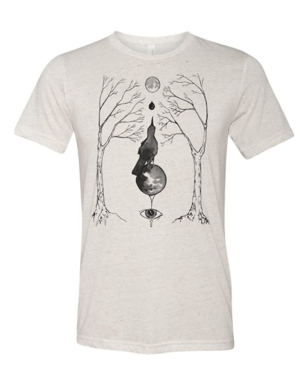 magical grackle triblend shirt original occult art by Closet of Mysteries