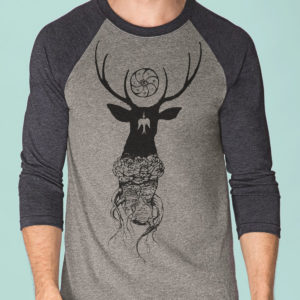 peyote deer triblend shirt 3/4 sleeve raglan by Closet of Mysteries