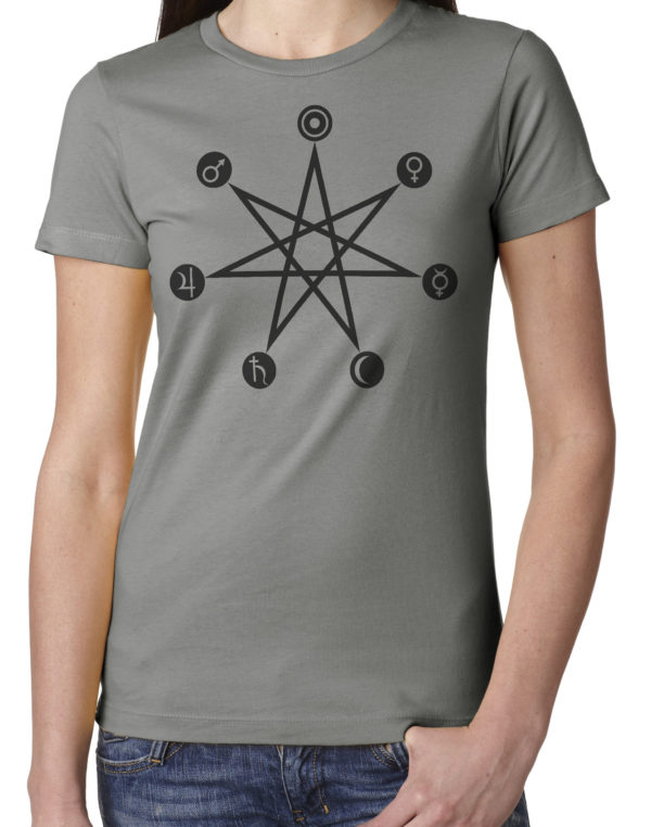 Planetary correspondences days of the week ladies grey t shirt from Closet of Mysteries