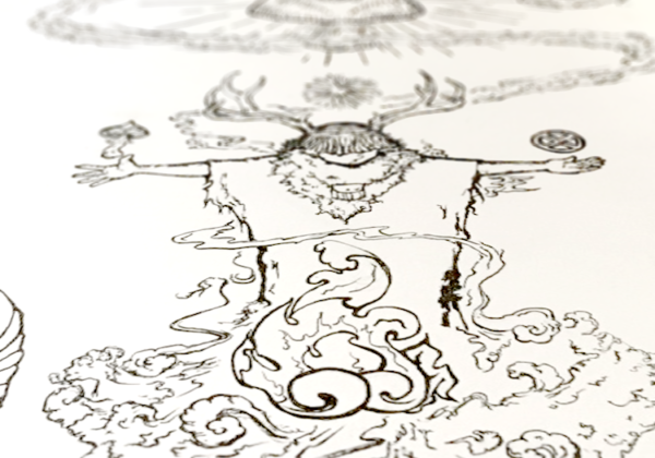 A Backstage Look at Mushroom Shaman shirt design for screen printing